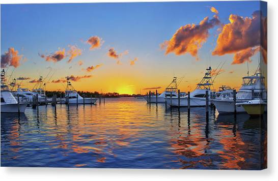 Sunset Over The Sailfish Marina In Riviera Beach Florida Canvas Print