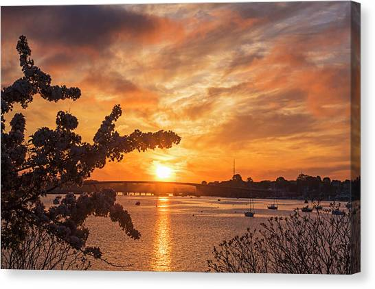 Sunset Over The Salem Beverly Bridge From The Salem Willows Salem Ma Canvas Print