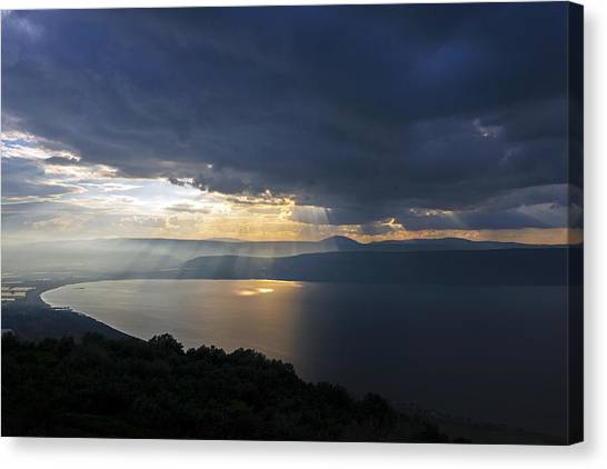 Sunset Over The Sea Of Galilee Canvas Print