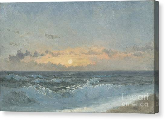 Sea Canvas Print - Sunset Over The Sea by William Pye