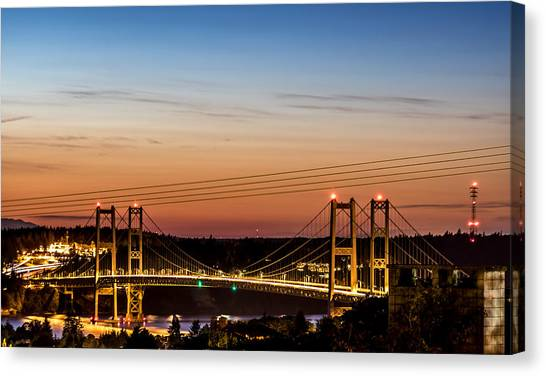 Sunset Over The Tacoma Narrows Bridges Canvas Print