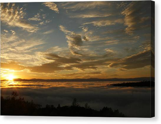 Sunset Over The Valley Fog Canvas Print