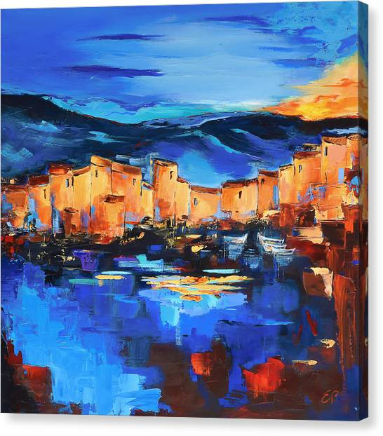 Fauvism Canvas Print - Sunset Over The Village 2 By Elise Palmigiani by Elise Palmigiani