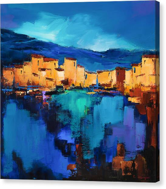 Fauvism Canvas Print - Sunset Over The Village 3 By Elise Palmigiani by Elise Palmigiani