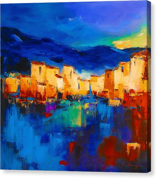 Blue Sky Canvas Print - Sunset Over The Village by Elise Palmigiani