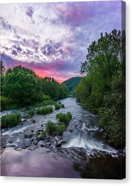 Sunset Over The Vistula In The Silesian Beskids Canvas Print