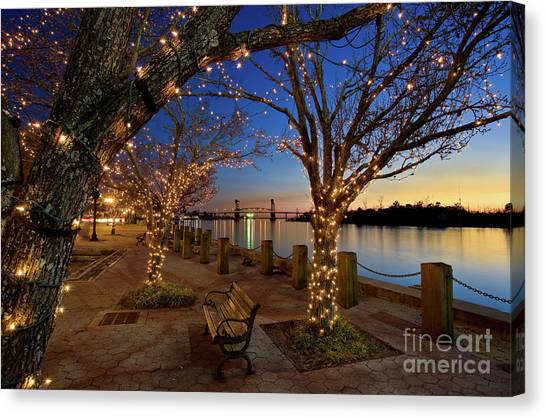 Sunset Over The Wilmington Waterfront In North Carolina, Usa Canvas Print