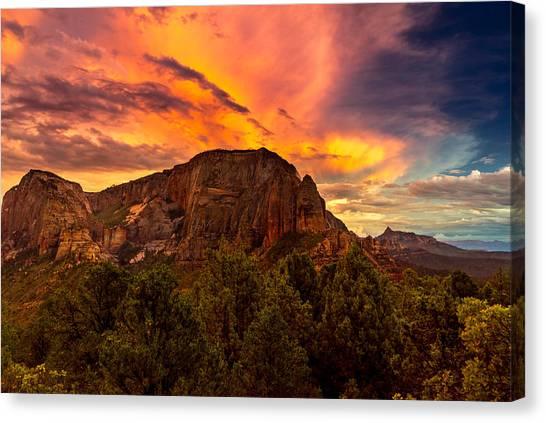 Sunset Over Timber Top Mountain Canvas Print