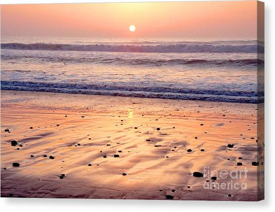 Sunset Over Torrey Pines Beach La Jolla California Canvas Print by Julia Hiebaum