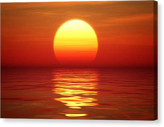 Sunrise Horizon Canvas Print - Sunset Over Tranqual Water by Johan Swanepoel