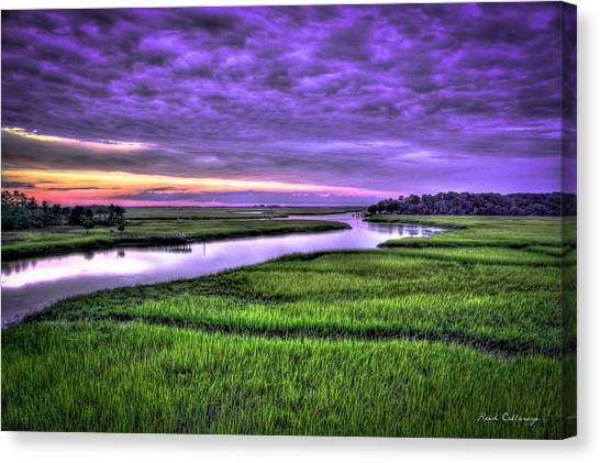 Wrens Canvas Print - Sunset Over Turners Creek Savannah Tybee Island Ga by Reid Callaway