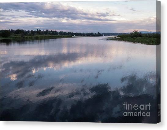 University Of Washington Canvas Print - Sunset Over Union Bay  by As the Dinosaur Flies Photography