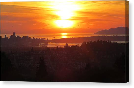 Sunset Over Vancouver Canvas Print