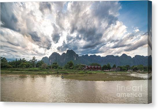 Sunset Over Vang Vieng River In Laos Canvas Print