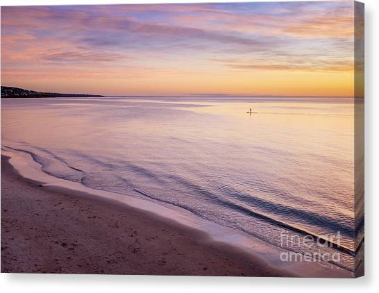 Canvas Print featuring the photograph Sunset Paddle by Ray Warren
