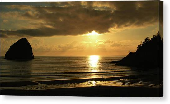 Sunset Panorama Haystack Rock Canvas Print