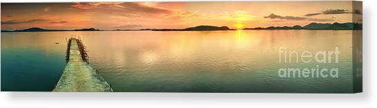 Ocean Sunrises Canvas Print - Sunset Panorama by MotHaiBaPhoto Prints