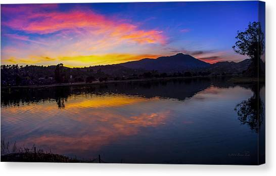 Sunset Panorama Of Mt. Tam And Richardson Bay Canvas Print