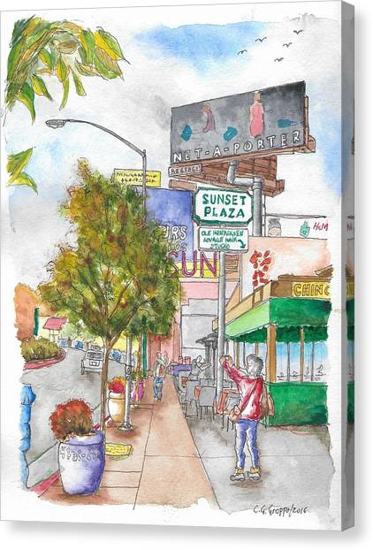Sunset Plaza, Sunset Blvd., And Londonderry, West Hollywood, California Canvas Print