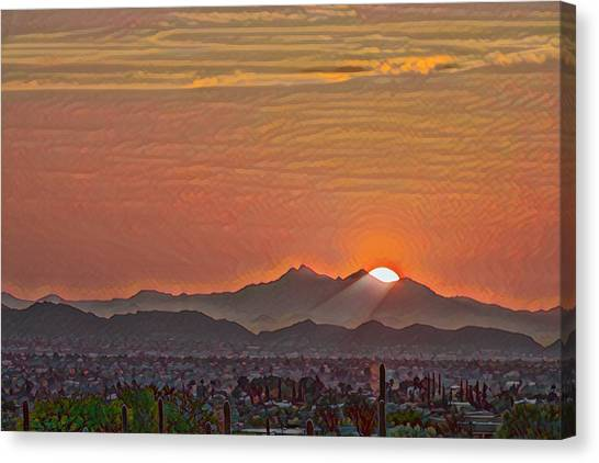 Canvas Print featuring the photograph Sunset Rays Remix by Dan McManus