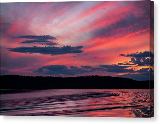 Sunset Red Lake Canvas Print