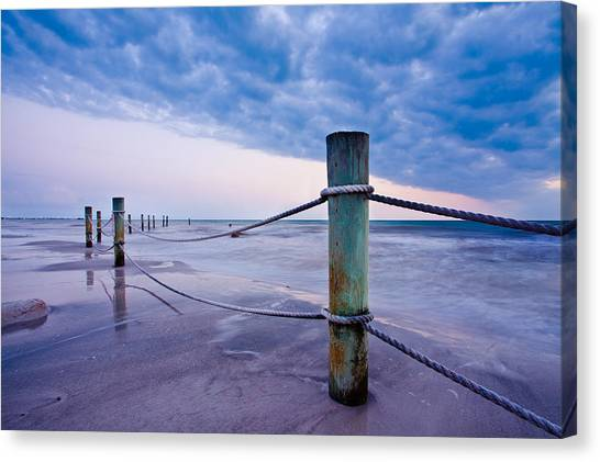 Sunset Reef Pilings Canvas Print
