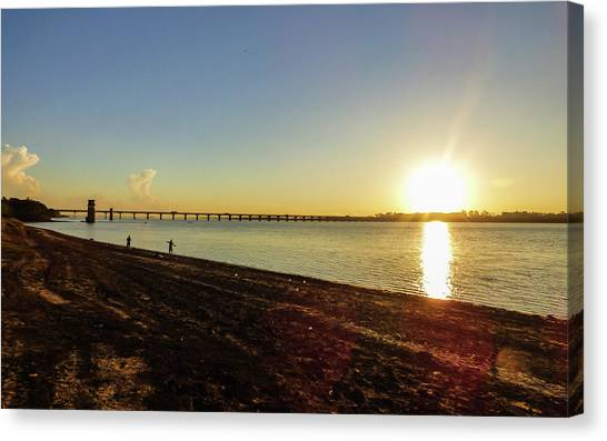 Sunset Reflecting On The Uruguay River Canvas Print