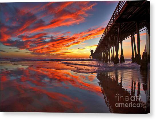 Sunset Reflections At The Imperial Beach Pier Canvas Print