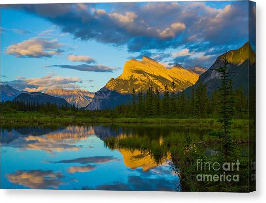 Sunset Reflections In Banff Canvas Print