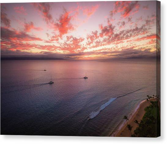 Sunset Sail Kaanapali Maui Canvas Print by Seascaping Photography