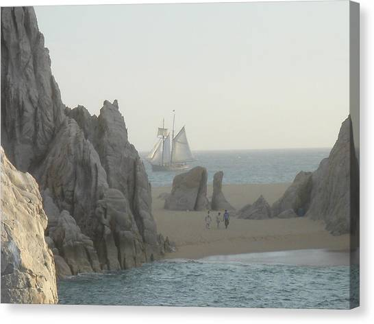 Sunset Sail  Los Cabos Mexico Canvas Print by John Julio