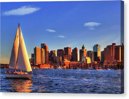 Sunset Sail On Boston Harbor Canvas Print