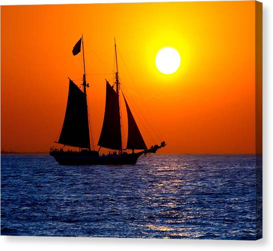 Sunset Sailing In Key West Florida Canvas Print