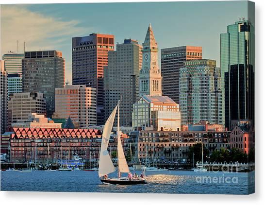Sunset Sails On Boston Harbor Canvas Print