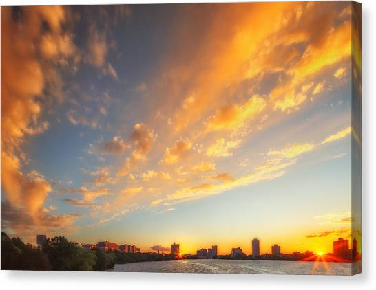 Patriot League Canvas Print - Sunset Seeing Double by Sylvia J Zarco