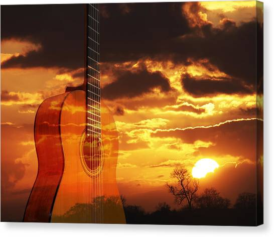 Prairie Sunsets Canvas Print - Sunset Serenade On Guitar by Gill Billington
