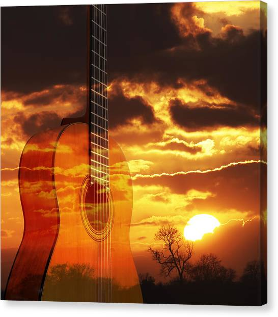 Classical Guitars Canvas Print - Sunset Serenade On Guitar Square by Gill Billington