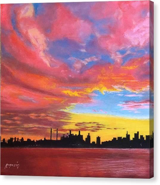 Sunset Silhouette...a Rainbow Of Colors Canvas Print by Harvey Rogosin