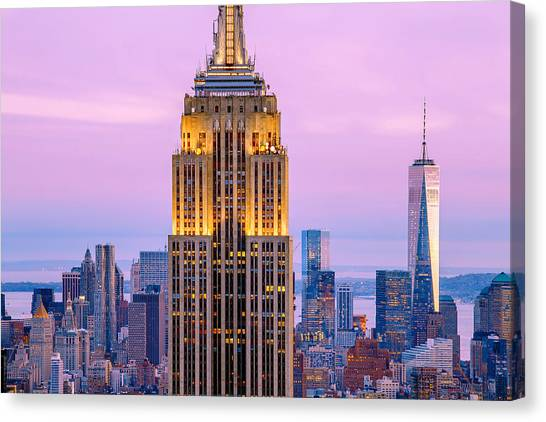 Empire State Building Canvas Print - Sunset Skyscrapers by Az Jackson