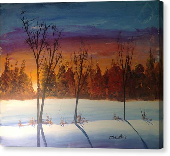 Sunset Snow Canvas Print