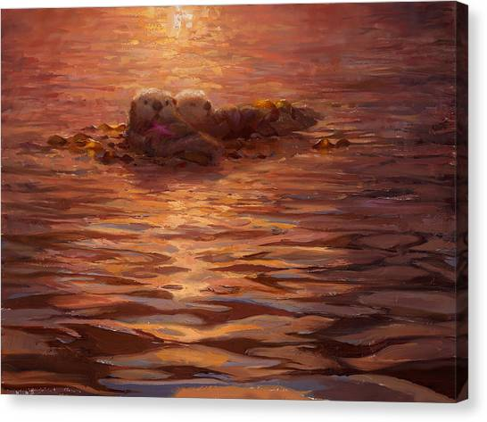 Sunset Snuggle - Sea Otters Floating With Kelp At Dusk Canvas Print