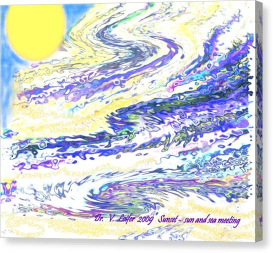 Sunset-sun And Sea Meeting Canvas Print by Dr Loifer Vladimir