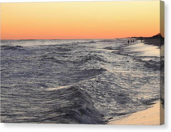 Sunset Surf Fishing Canvas Print