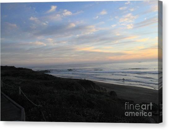 Sunset Horizon Canvas Print - Sunset Surf by Linda Woods