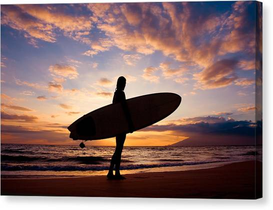 Hawaii Canvas Print - Sunset Surfer by The Sweets