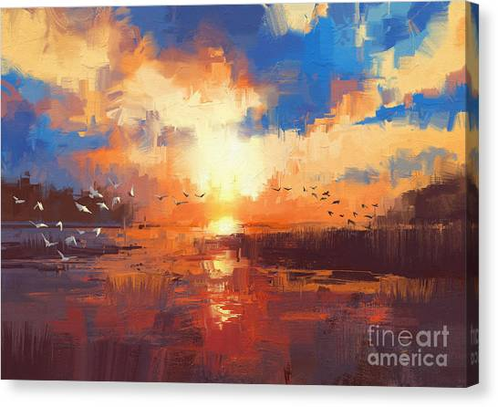 Canvas Print featuring the painting Sunset by Tithi Luadthong
