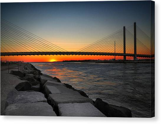 Sunset Under The Indian River Inlet Bridge Canvas Print