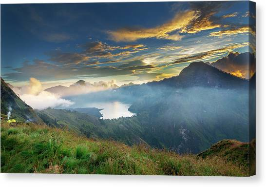 Canvas Print featuring the photograph Sunset View From Mt Rinjani Crater by Pradeep Raja Prints