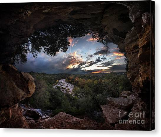 Barton Creek Cave Canvas Print - Sunset View From The Cliffs Caves Above The Flats - Barton Creek - Austin  - Texas by Bruce Lemons