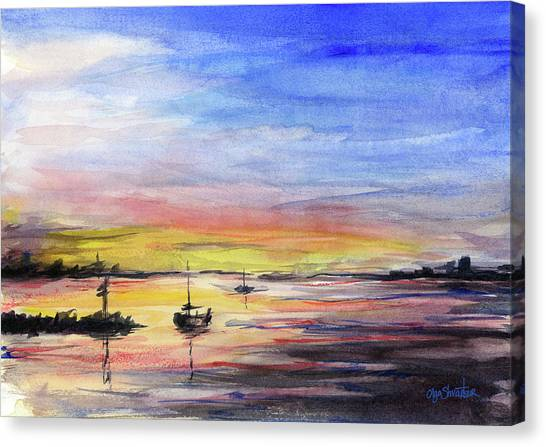Marinas Canvas Print - Sunset Watercolor Downtown Kirkland by Olga Shvartsur